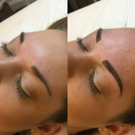 Full defined Microbladed brow before and after Microblading.